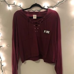 VS PINK Lace Up Long Sleeve Tee